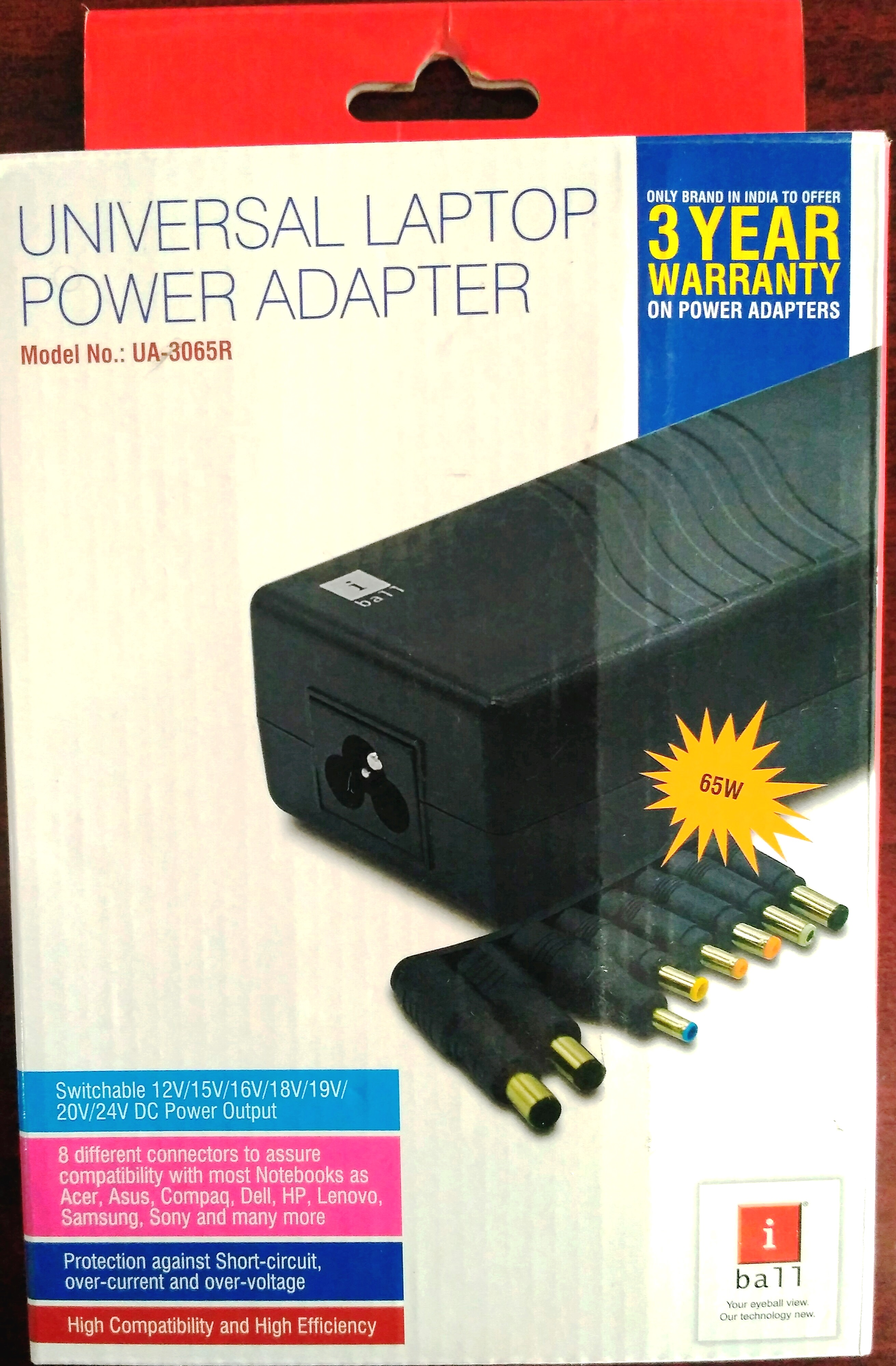 iball universal laptop power adapter ua3065r- 8 extra pins