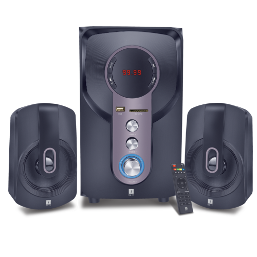 iBall Hi-Basss 2.1 Speaker Multiple Inputs - USB/ SD/MMC and AUX (RCA) Built-in FM Radio