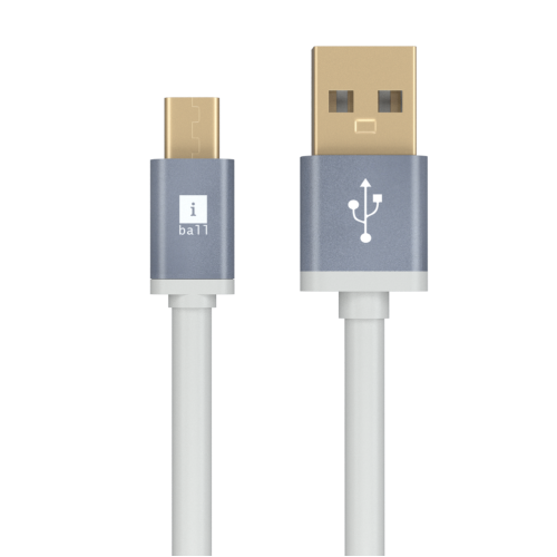 iBall IC-MFT03 White Flat Micro USB Data Cable 1 Meter with Gold Plated Connectors